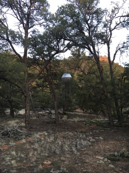 Windchimes behind cabins